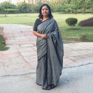 Grey and Black Mangalgiri Cotton Saree