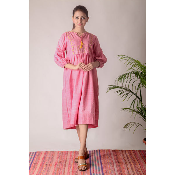 Pink Khadi Cotton Bird Dress with Plated Sleeves