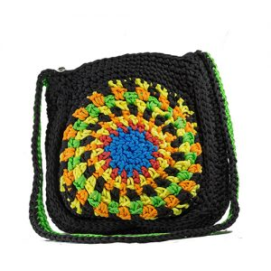 Black Chakra Crochet Sling Bag, Sling bag for girls