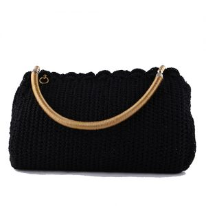 Black Crochet Handbag For Ladies