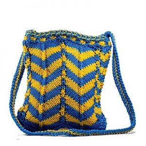 Blue Yellow Knitwave Crochet Sling Bag