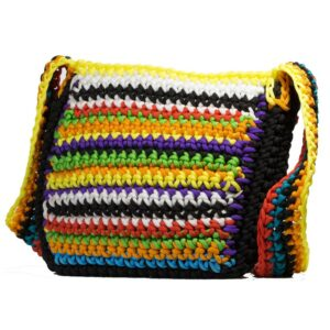 Multicoloured Top Open Crochet Sling Bag for Girls