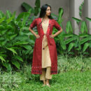 Maroon Beige Firefly Kurta Set, ikat dress, ikat clohting, ikat women dress, ikat women clothing, ikat, ikat kurta set