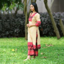 Maroon Beige Ikat Chandan Suit Set, ikat dress, ikat clohting, ikat women dress, ikat women clothing, ikat, ikat kurta set