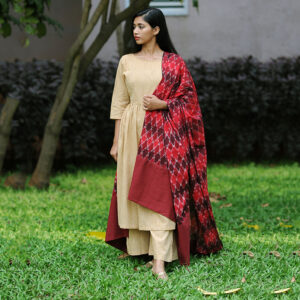 Maroon Beige Rosette Ikat Kurta Set, ikat dress, ikat clohting, ikat women dress, ikat women clothing, ikat, ikat kurta set