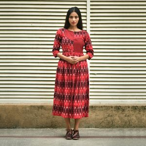 Maroon Ikat Applique Dress, ikat dress, ikat clohting, ikat women dress, ikat women clothing, ikat
