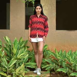 Maroon Ikat Collar Shirt, ikat dress, ikat clohting, ikat women dress, ikat women clothing, ikat