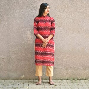 Maroon Ikat Nehru Kurta, ikat dress, ikat clohting, ikat women dress, ikat women clothing, ikat