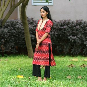 Maroon Ikat Yoke Kurta, ikat dress, ikat clohting, ikat women dress, ikat women clothing, ikat, ikat kurta set
