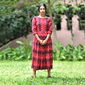 Maroon Ikat shift dress, ikat dress, ikat clohting, ikat women dress, ikat women clothing, ikat