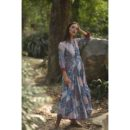 Blue Floral Print Cotton Dress, Buy Linen Dress, Buy Cotton Dress Online, Buy Kurta Online, Buy Dress Online, Buy Blue Dress