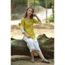 Off White and Yellow Linen Kurta Set, Buy Linen Dress, Buy Linen Dress Online, Buy Kurta Online, Buy Dress Online, Buy pink bkue Dress, Buy pink Dress