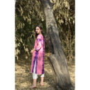 Pink and Blue Linen Kurta Set, Buy Linen Dress, Buy Linen Dress Online, Buy Kurta Online, Buy Dress Online, Buy pink bkue Dress, Buy pink Dress