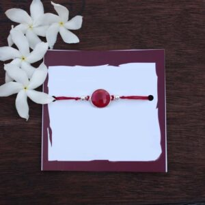 Pure Silver Ruby Quartz Attention Seeker Rakhi, silver rakhi, rakhi, raksha bandhan, rakhi for brother, rakhi gifts, buy rakhi online