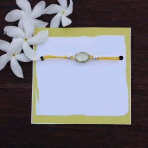 Pure Silver Yellow Topaz Wealth Rakhi, silver rakhi, rakhi, raksha bandhan, rakhi for brother, rakhi gifts, buy rakhi online