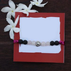 Rose Quartz And Lava Stone Rakhi, silver rakhi, rakhi, raksha bandhan, rakhi for brother, rakhi gifts, buy rakhi online
