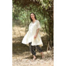White Floral Polycrepe Kurta Dhoti Set, buy cotton dress, handmade clothes, sustainable clothes, cotton dress, dresses for women, women clothing, wilobyvatika, wilobyvatika clothes, cotton dress for women, women clothing, dresses in India, best dresses in india, casual suit, best quality dress, dress india, kurta set