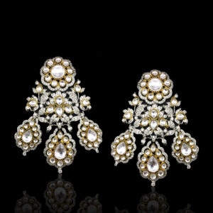 Silver Base Kundan Earrings
