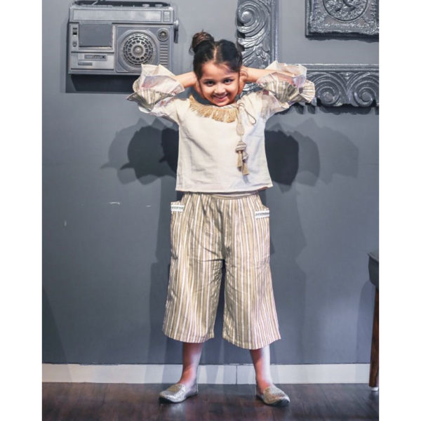 White Khadi Kids Pants & Top