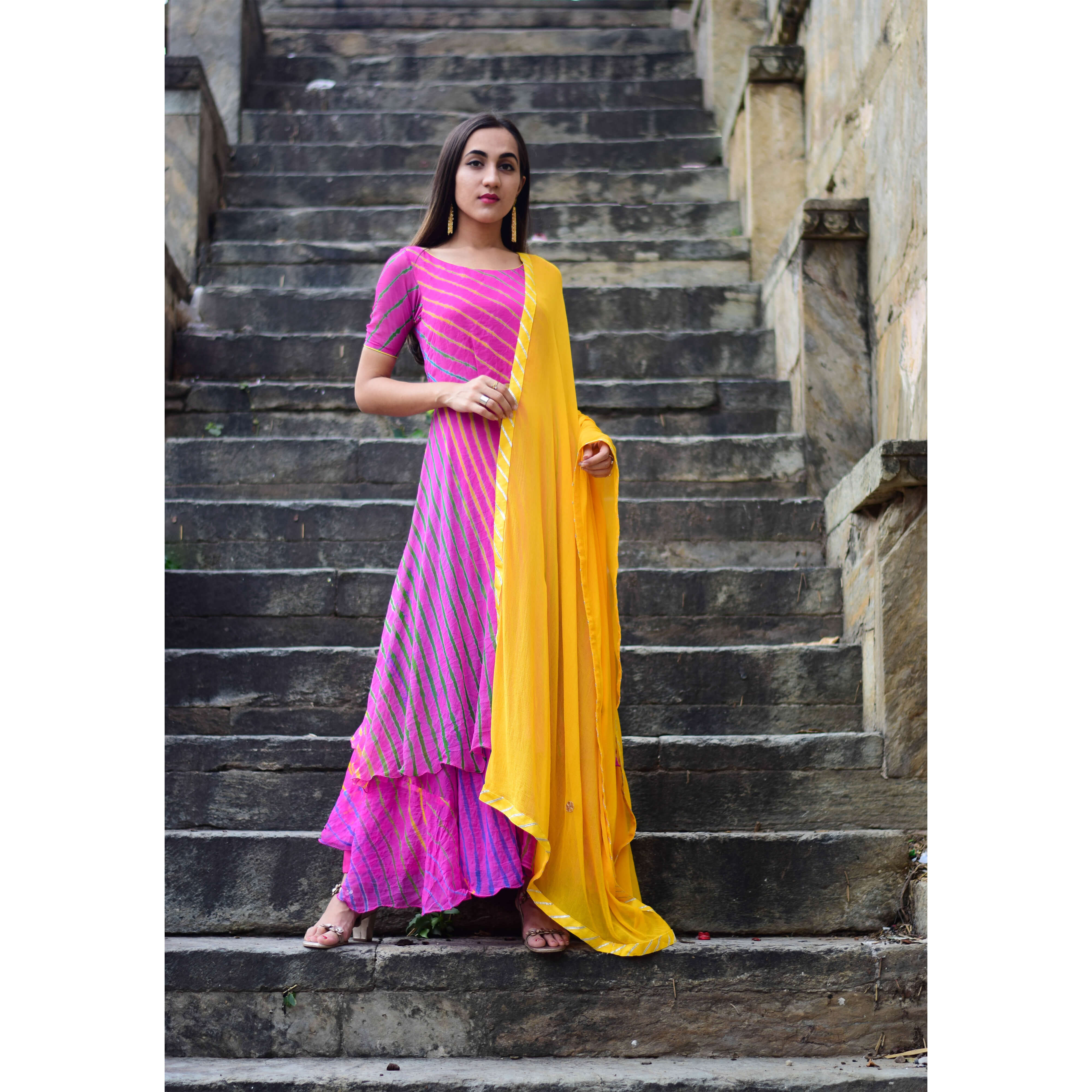 6e76ec6795 Home Shop By Categories. Magenta Purple Double Layererd Anarkali With Yellow  Dupatta