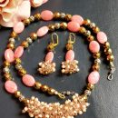 Gemstone Necklace with earrings, Pink Necklace, Pink Earrings, Long Necklace.