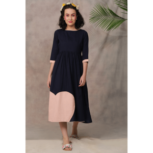 dress, navy blue dress, pink dress, cotton dress, mulmul dress