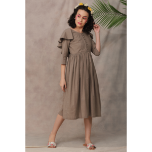 dress, brown dress, cotton dress, mulmul dress,summer dress