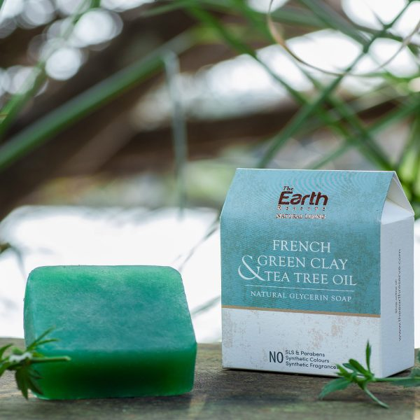 French Green Clay &Tea Tree Oil Natural Glycerin Soap