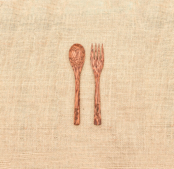 Coconut palm spoon fork set 1