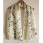 Lime Yellow Silk Floral-Multi Color Handpainted Stole