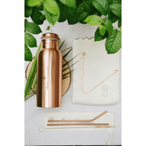 stainless steel straw, bamboo straw, wooden straw, natural, eco friendly, natural straw, handmade in india, india made, copper straw, reusable straw, eco friendly straw, spoon, fork, eco friendly spoon, spoon online, dinner set, bowls with spoon and fork, fork spoon, All Things Copper Cutlery Kit