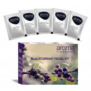 Aroma Treasures ~ Blackcurrant Single Time Use Facial Kit ~ with Face Wash, Scrub, Moisturising cream, Face Gel and Face mask
