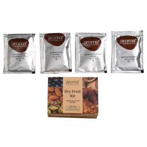 Aroma Treasures ~ Dry Fruit Single Time Use Facial Kit with Face Wash, Scrub, Moisturising cream and Face mask