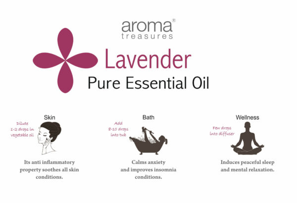 Aroma Treasures Lavender Essential Oil 100% Pure & Natural - 10ml