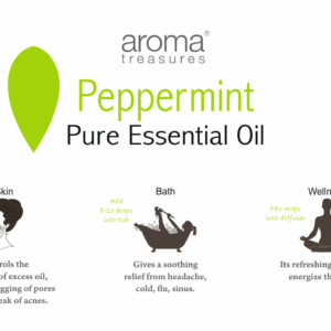 Aroma Treasures Peppermint Essential Oil 100% Pure & Natural - 10ml