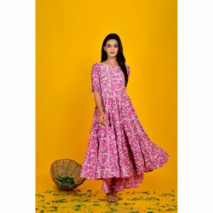 Lavender Print Anarkali With Palazzo