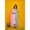 Light Green Sharara Set With Pink Dupatta