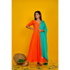 Orange Bandhani Dress With Green Dupatta
