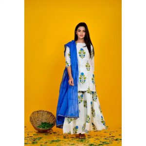 Blue Block Print Sharara Set
