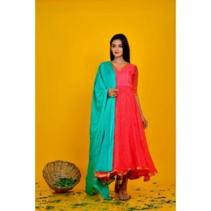 Pink Bandhani Flared Dress With Green Dupata
