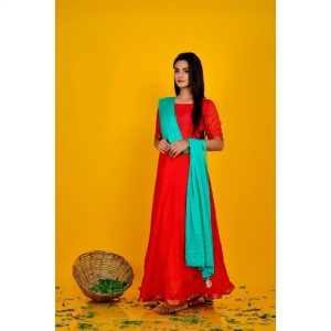 Red Bandhani Dress With Dupatta