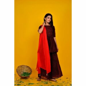 Black Red Striped Kurta Palazzo Set