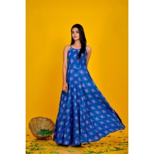 Blue Bagru Print Maxi Dress