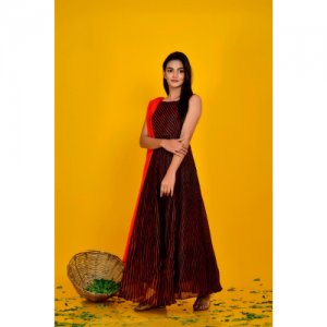 Balck Flared Dress With Red Dupatta