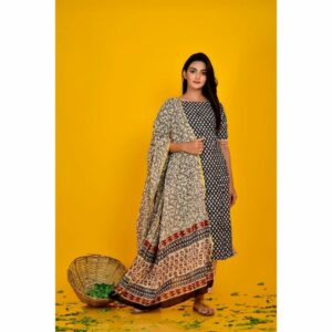 Black Block Print Kurta Pant Set