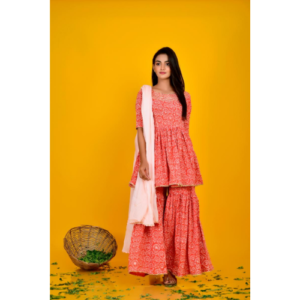 Orange Cotton Printed Sharara Set