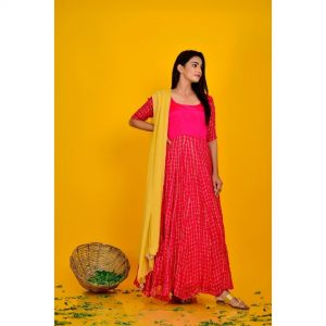 Magenta Anarkali With Chiffon Dupatta