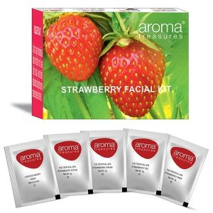 Aroma Treasures ~ Strawberry Single Time Use Facial Kit ~ with Face Wash, Scrub, Moisturising cream, Face Gel and Face mask