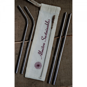 stainless steel straw, bamboo straw, wooden straw, natural, eco friendly, natural straw, handmade in india, india made, copper straw, reusable straw, eco friendly straw, Stainless Steel Straws Pack of 4 (2 Bent, 2 straight with 1 Cleaner)