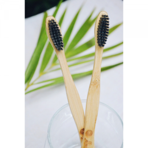 bamboo toothbrush, wooden toothbrush, natural, eco frienldy, natural toothbrush, handmade in india, india made, Bamboo Toothbrush – Charcoal (Pack of 2)
